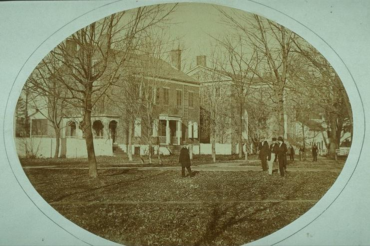View from southeast in original location, with Geological Hall in background (photo 1863)